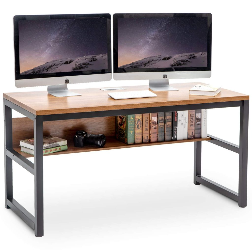 home office desk simple with bottom shelf