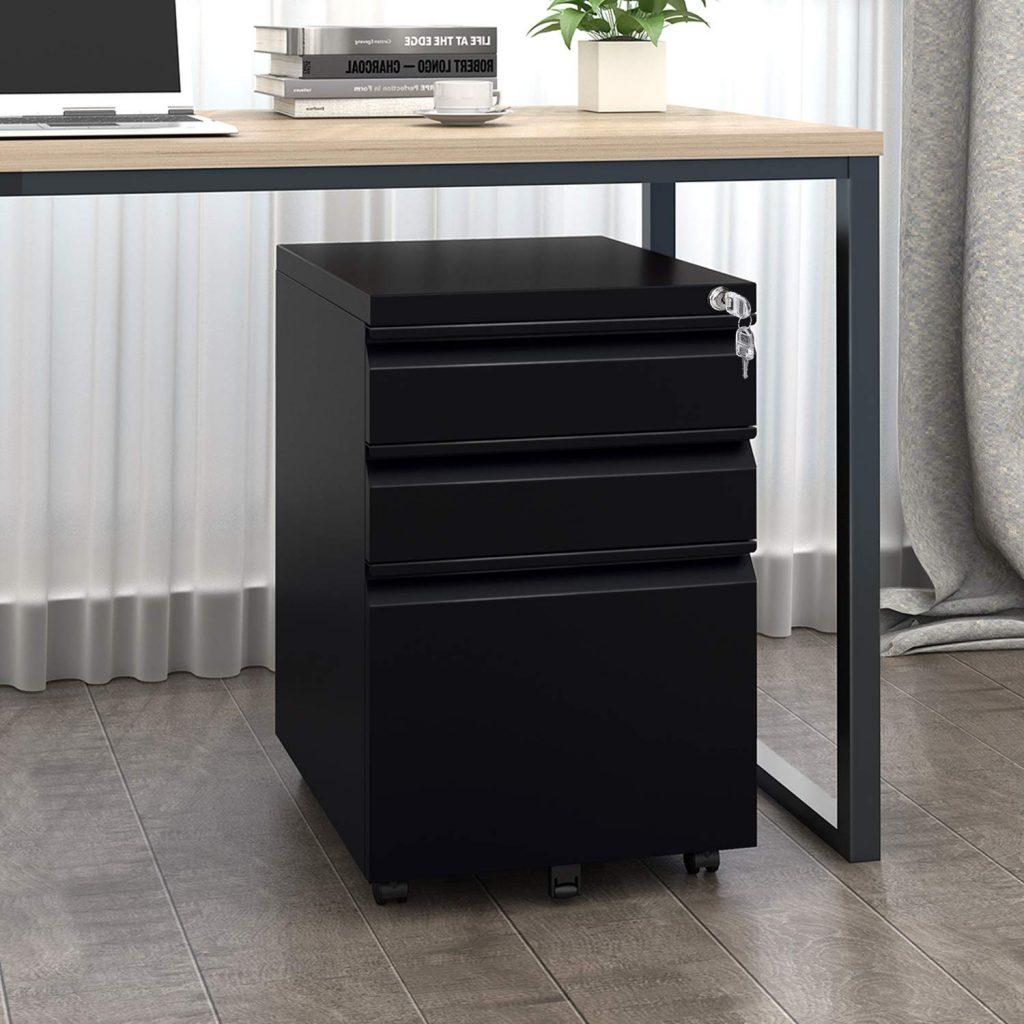 devaise three drawer metal filing cabinet