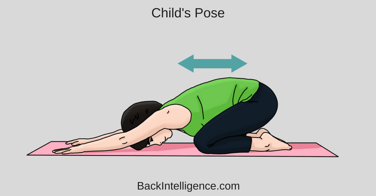 woman displaying child's pose to help decompress spinal chord