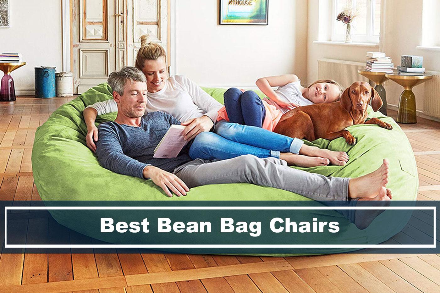 family sitting on the best bean bag chairs