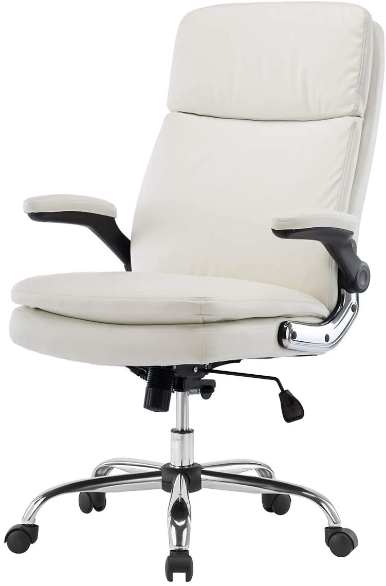 modern white leather executive recliner