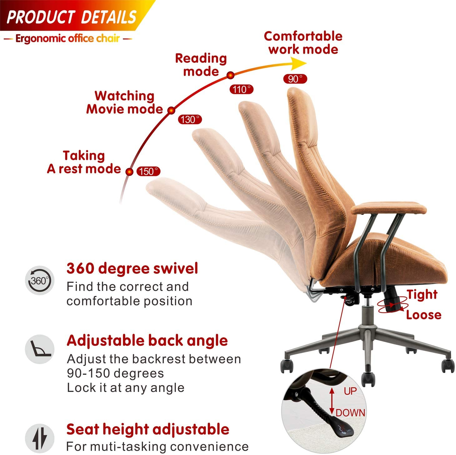 ovios reclining office chair product detail