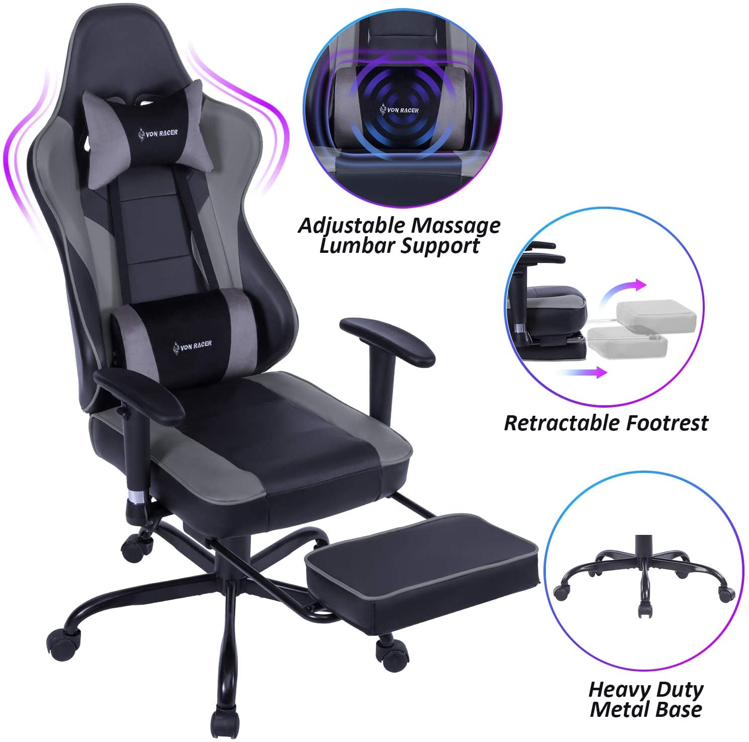 von racer massage gaming reclining office chair
